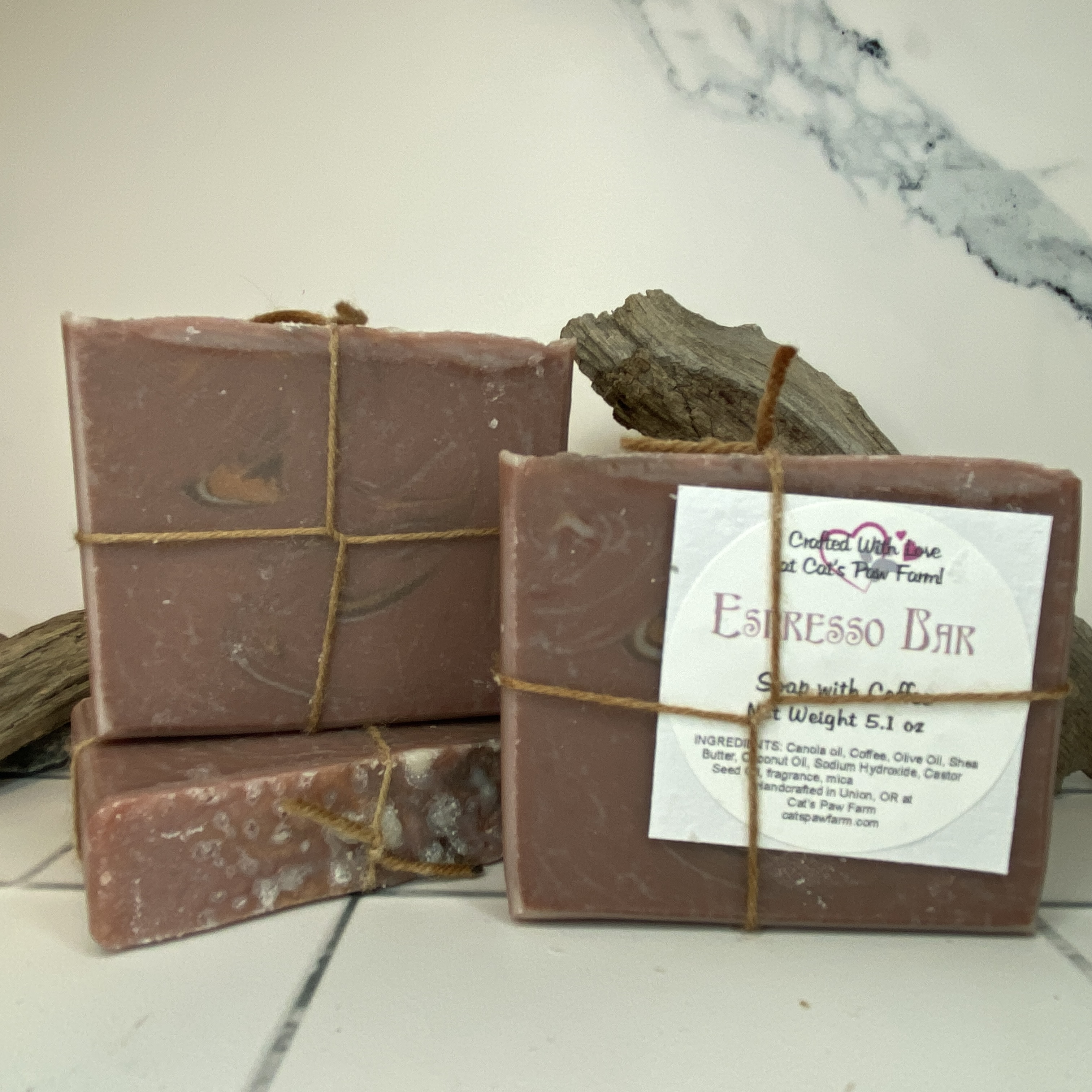 Espresso Scented Vegan Soap with Coffee