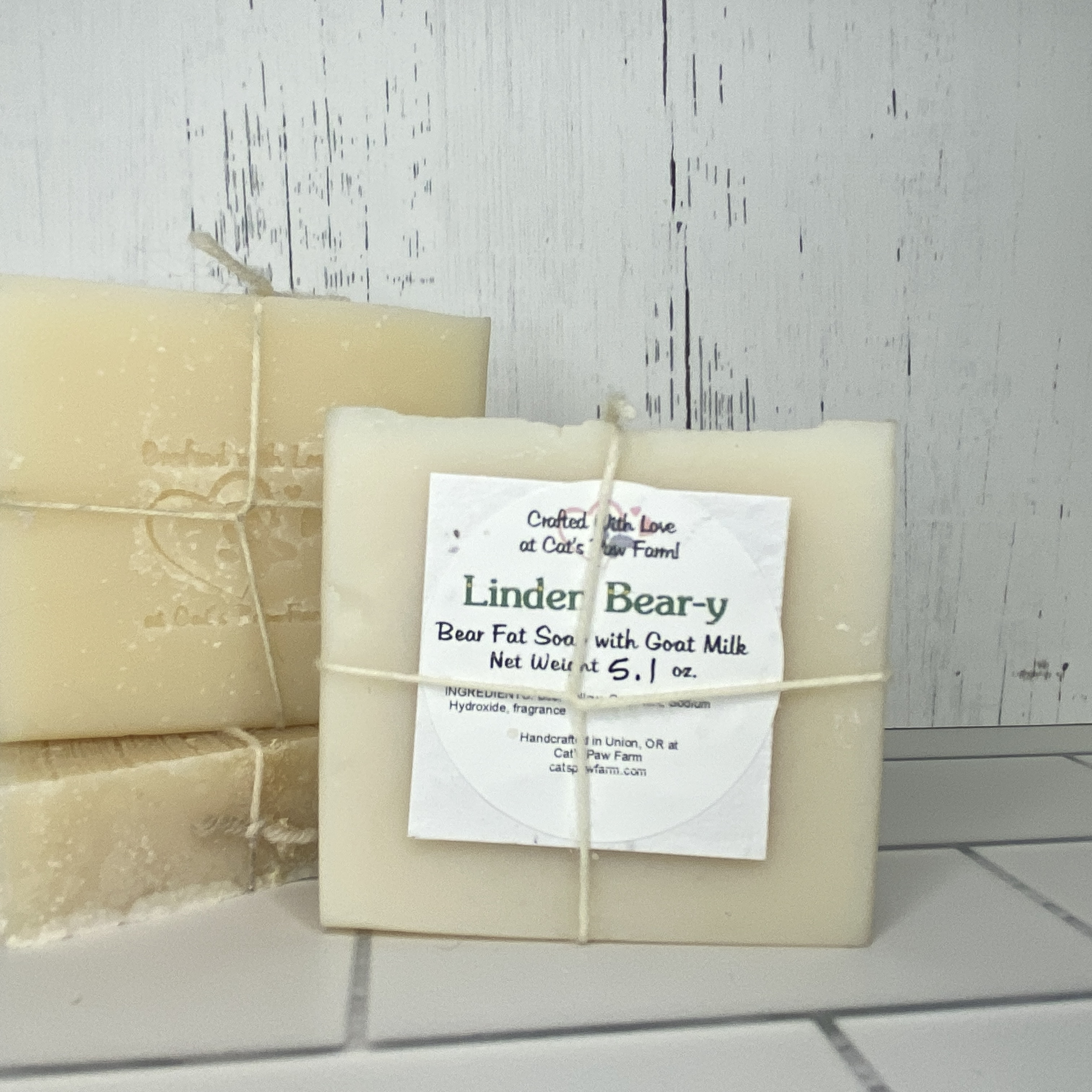 Linden Beary Scented Bear Fat Soap with Goat Milk