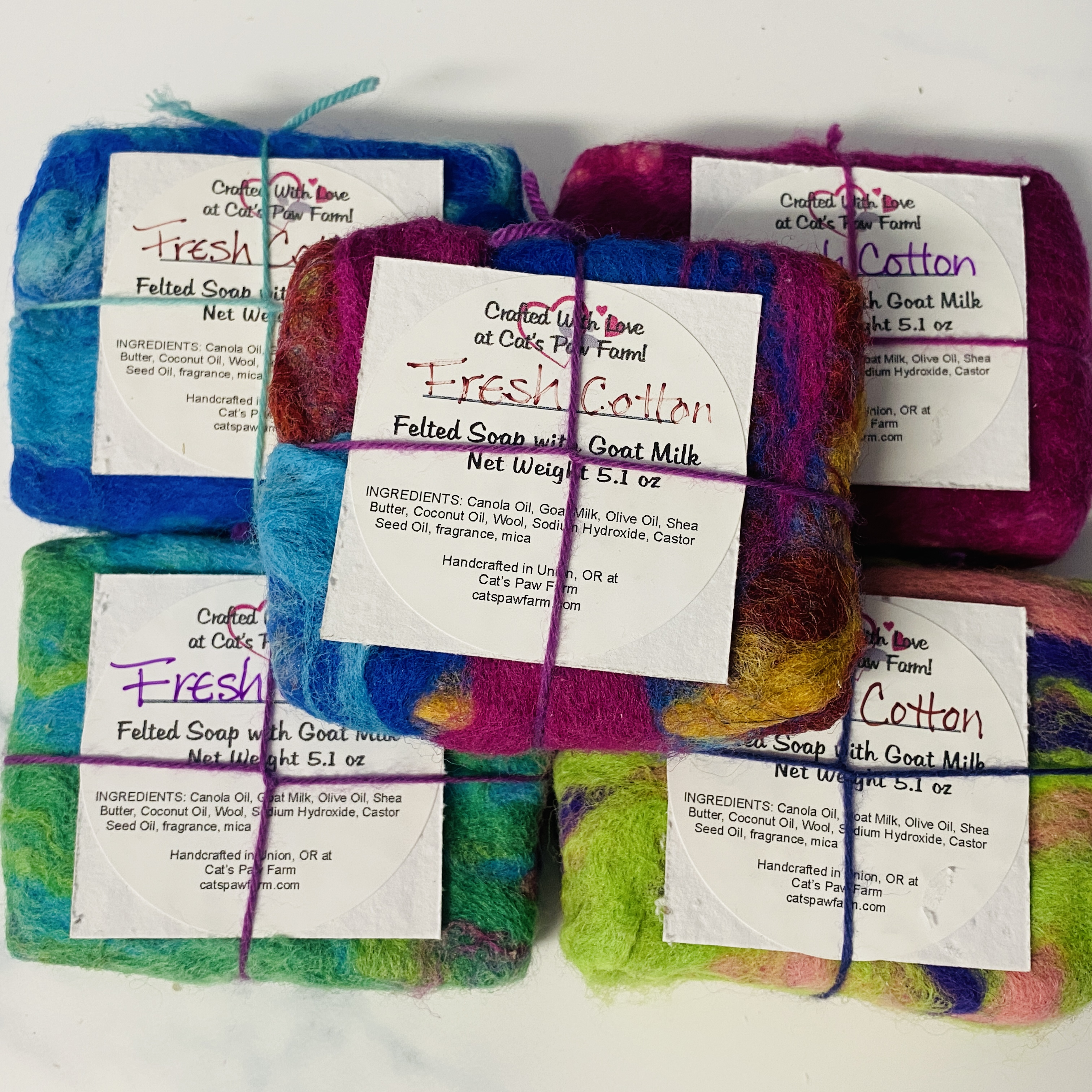 Fresh Cotton Felted Scented Soap with Goat Milk
