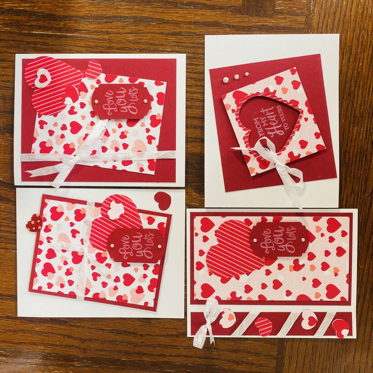 Love You Lots Valentines Greeting Card 4 pack
