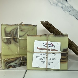 Sweetgrass and Leather Scented Soap with Goat Milk
